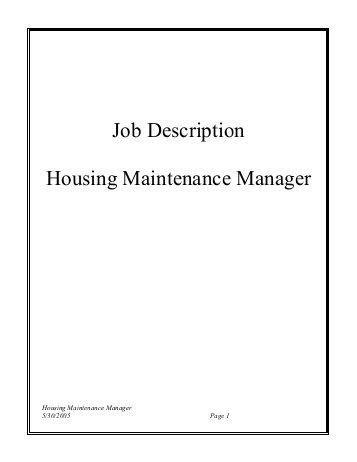 Captivating Maintenance Director Job Description. Free Maintenance Manager .
