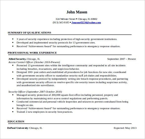 security professional resume click here to download this security