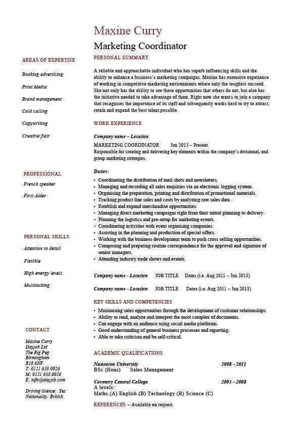 Marketing coordinator resume, sales, example, sample, advertising ...