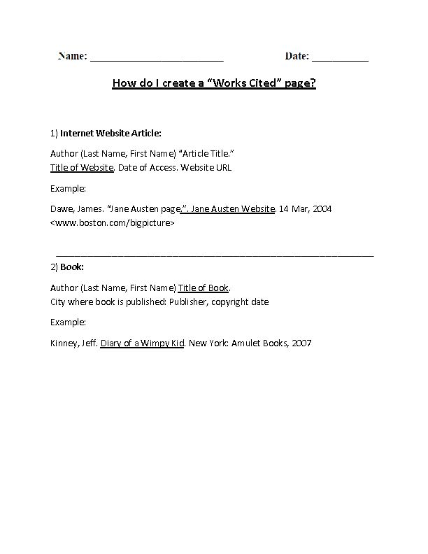 Englishlinx.com | Works Cited Worksheets