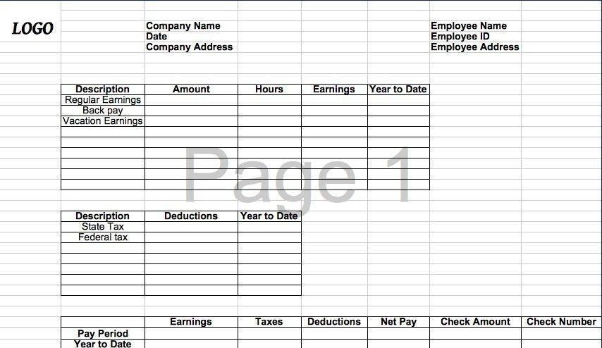 25 Great Pay Stub / Paycheck Stub Templates regarding Check Stub ...