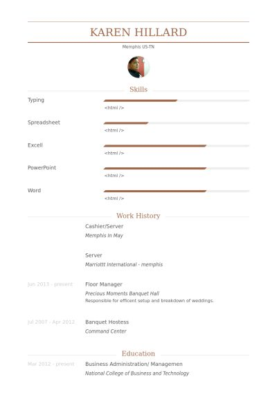 Cashier/Server Resume samples - VisualCV resume samples database