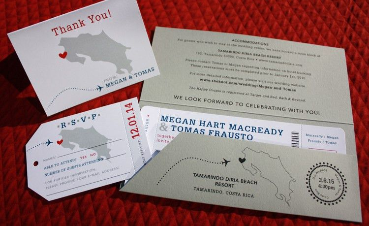 Costa Rica Map & Dotted Airplane Boarding Pass Wedding Invitations ...