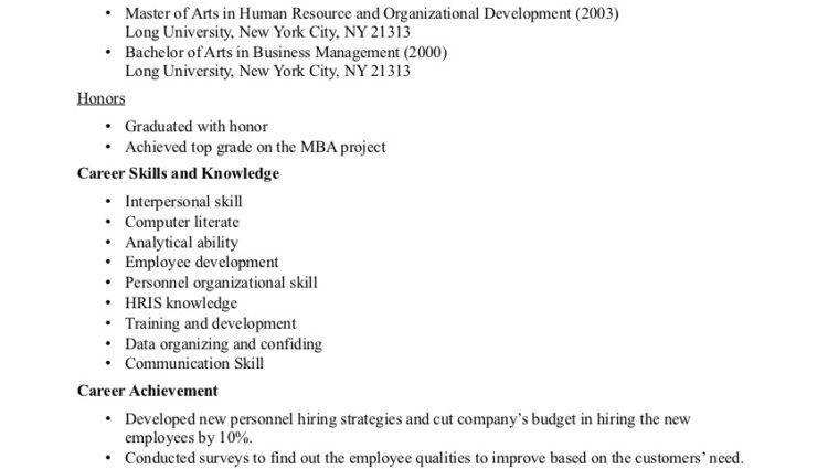 Human Resources Resume Examples human resource career skills and ...