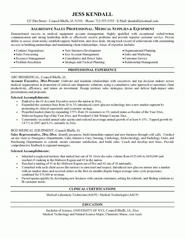 Equipment Salesperson Resume