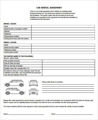 7+ Car Rental Agreement Samples - Free Sample, Example, Format ...