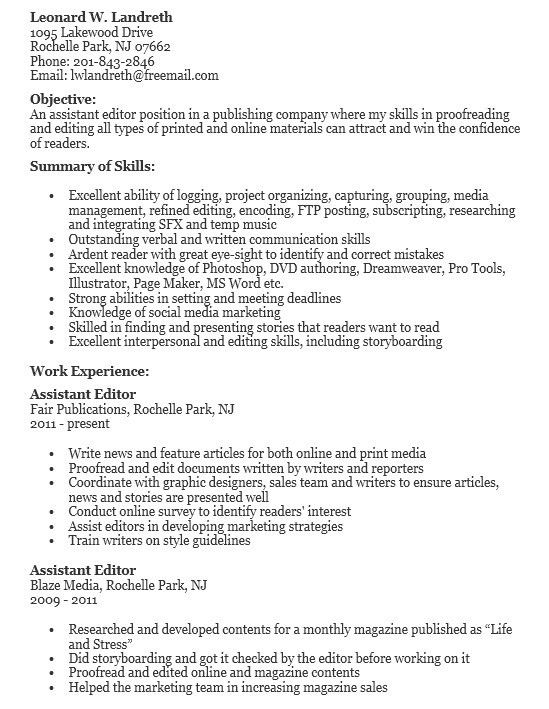 16 Free Sample Assistant Editor Resumes – Sample Resumes 2016