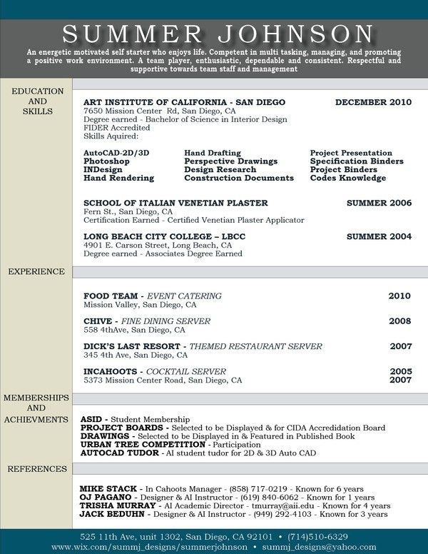 Interior Design Resume Examples. Assistant Interior Design Intern ...