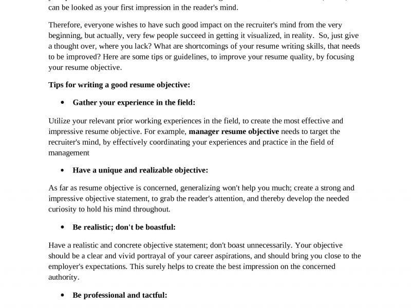 Strong General Resume Objective. objectives in resumes general ...