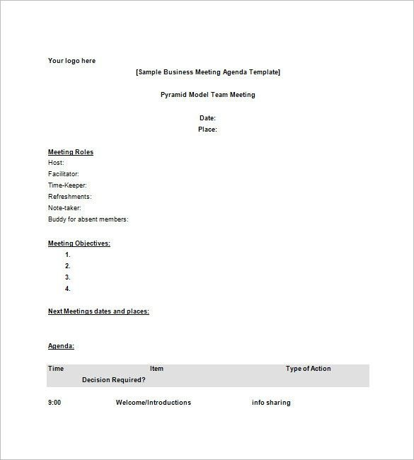 Business Agenda Template – 8+ Free Word, Excel, PDF Format ...