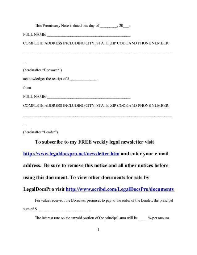 FREE Sample promissory note
