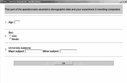 A sample questionnaire for demographic data.