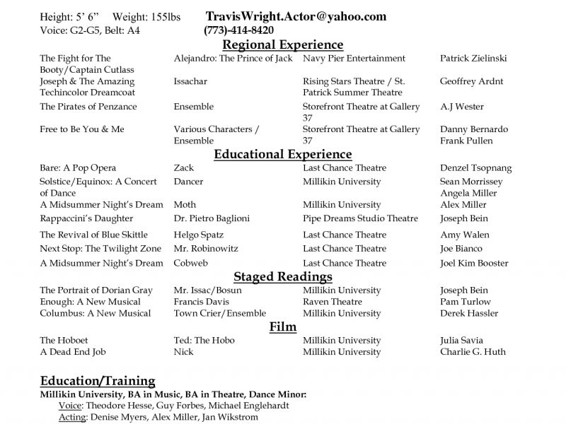 Download Actor Resume Template | haadyaooverbayresort.com