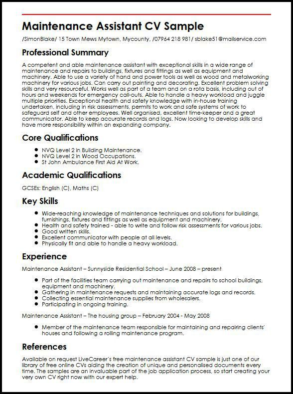 Maintenance Assistant CV Sample | MyperfectCV
