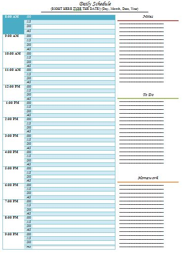 Daily Routine Chart Template : Selimtd