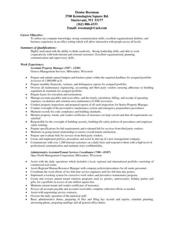Experienced Assistant Property Manager Resume Sample for Job ...