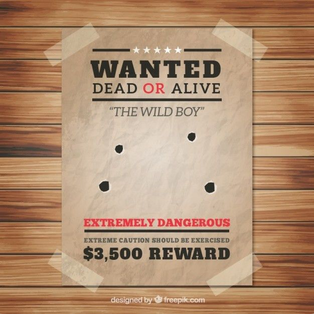 Wanted poster with four bullet holes Vector | Free Download