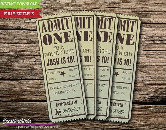 Vintage Movie Ticket Invitation Template | Party Ideas ...