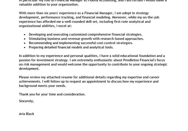 finance manager emphasis resume cover letter example ...