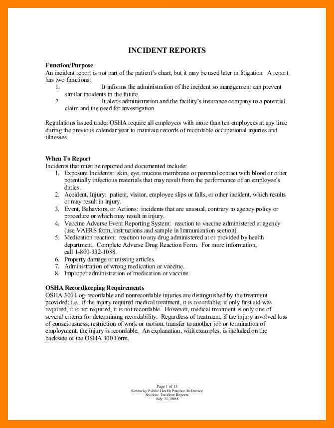 8+ example of incident report letter | emt resume
