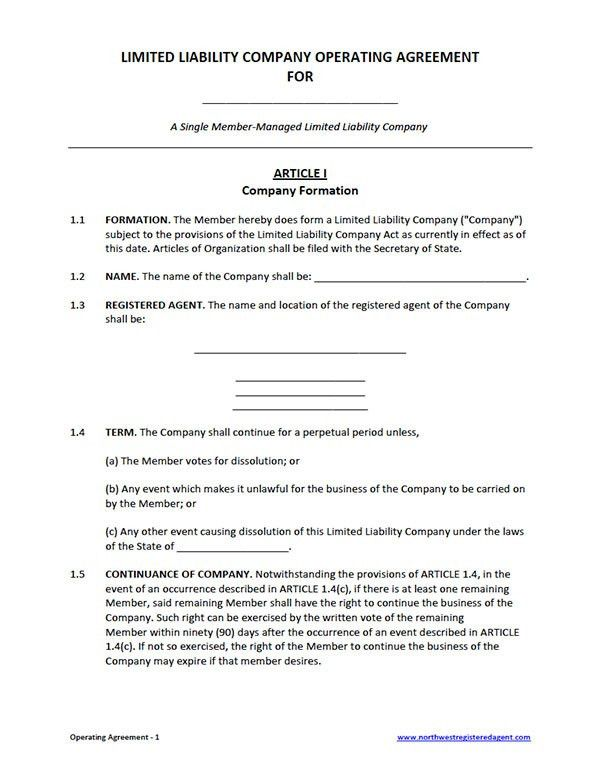 Llc Operating Agreement Template - vnzgames
