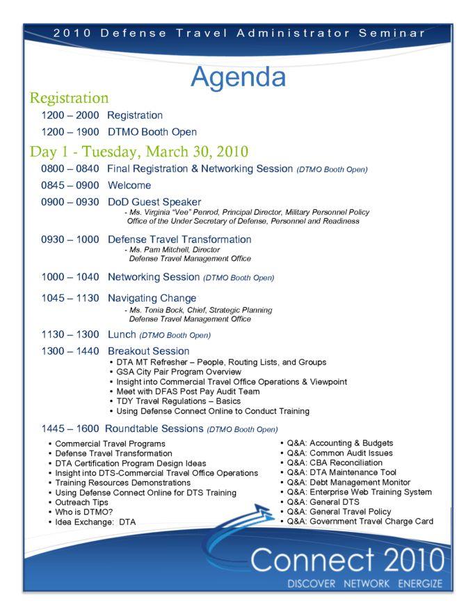Professional Agenda Template Sample For Seminar Or Business ...
