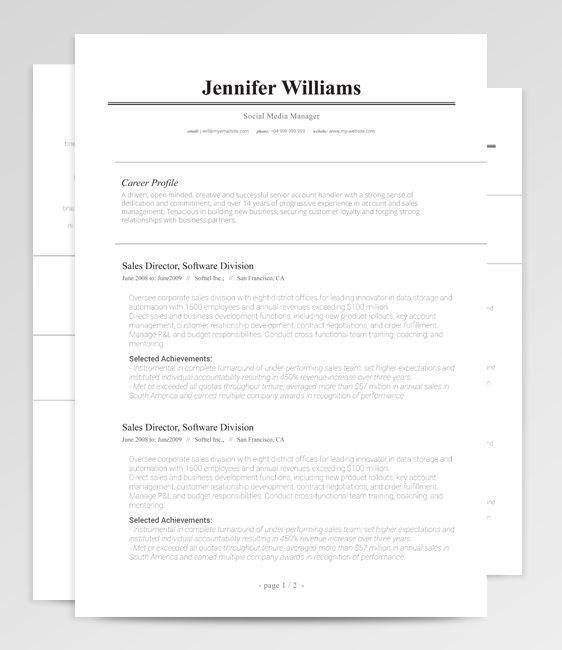 207 best Resume Templates [many free] images on Pinterest   Resume ...