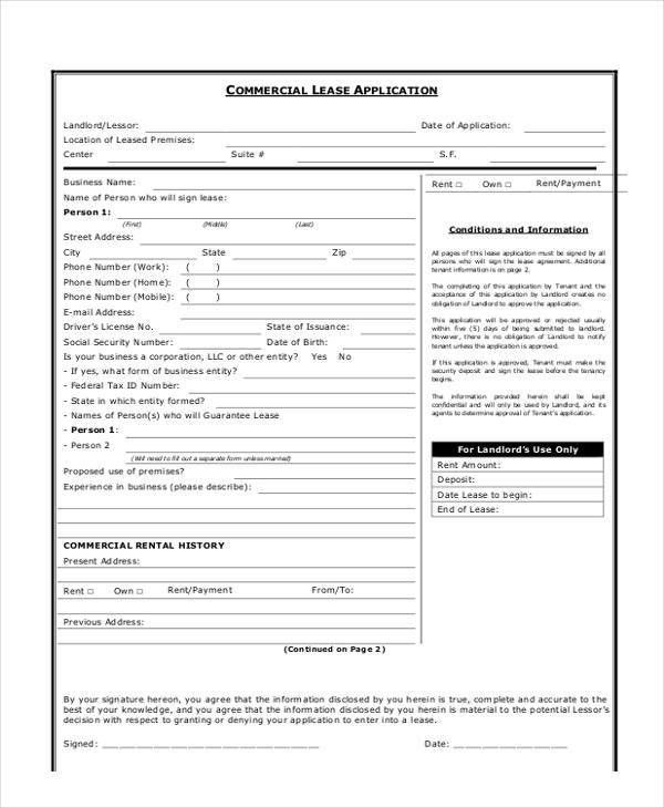 7+ Commercial Lease Application Form - Free Sample, Example ...