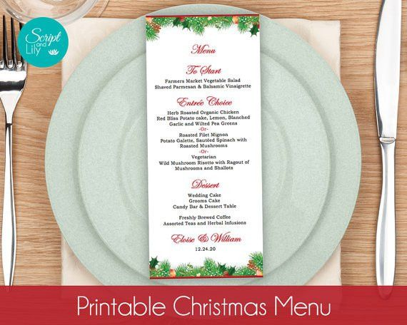 Christmas Menu Card TEMPLATES Winter Wonderland Wedding