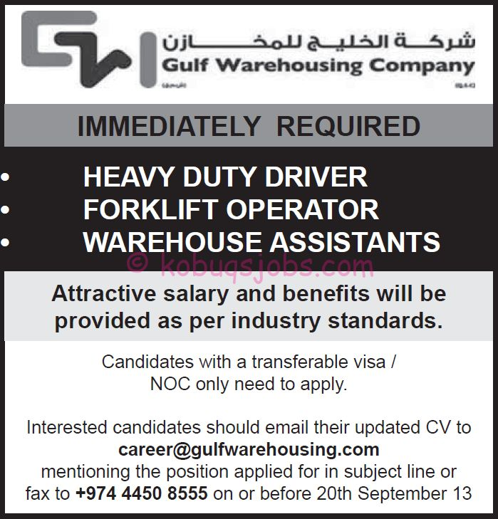 Heavy Duty Drivers, Forklift Operator, Warehouse Assistant ...