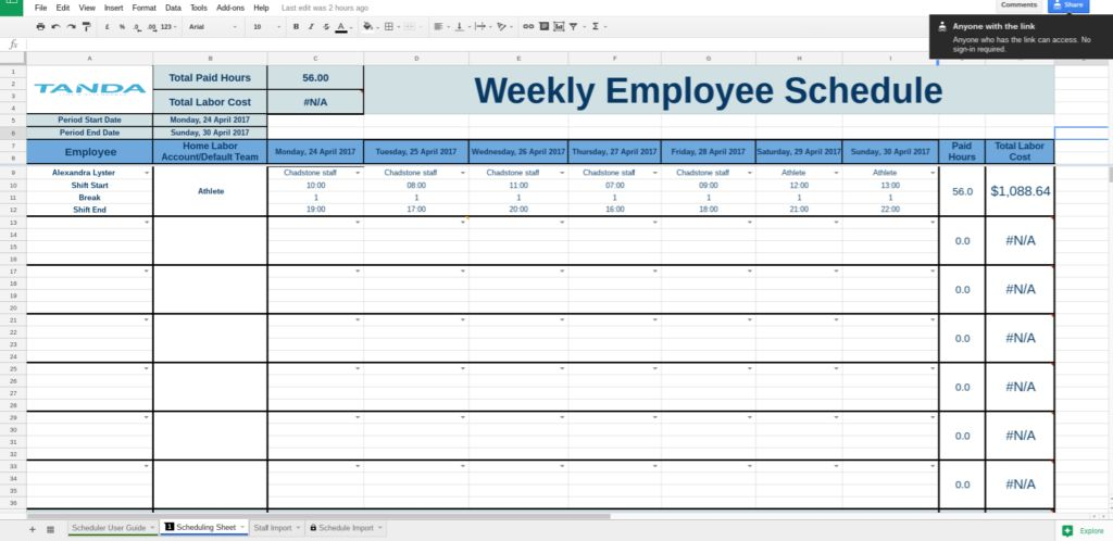 Free Work Schedule Templates for Google Spreadsheets | Tanda