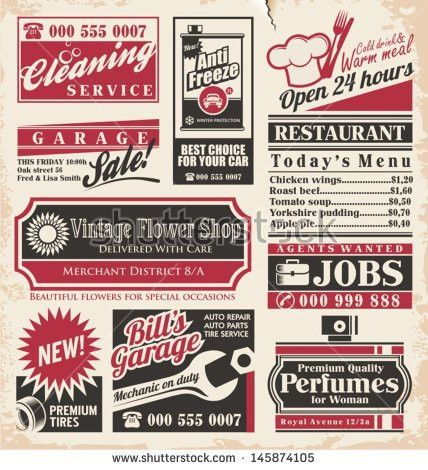 Retro Newspaper Ads Design Template Vector Stock Vector 145874105 ...