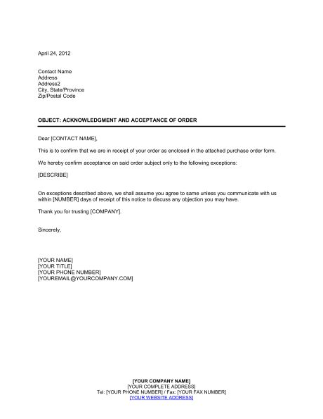 Acknowledgment and Acceptance of Order - Template & Sample Form ...