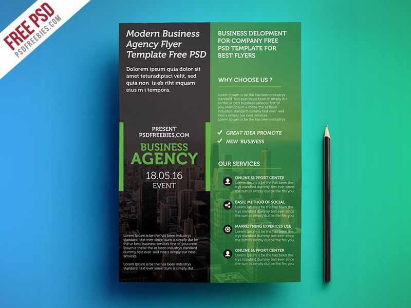 Freebie : Modern Business Agency Flyer Template Free PSD by PSD ...