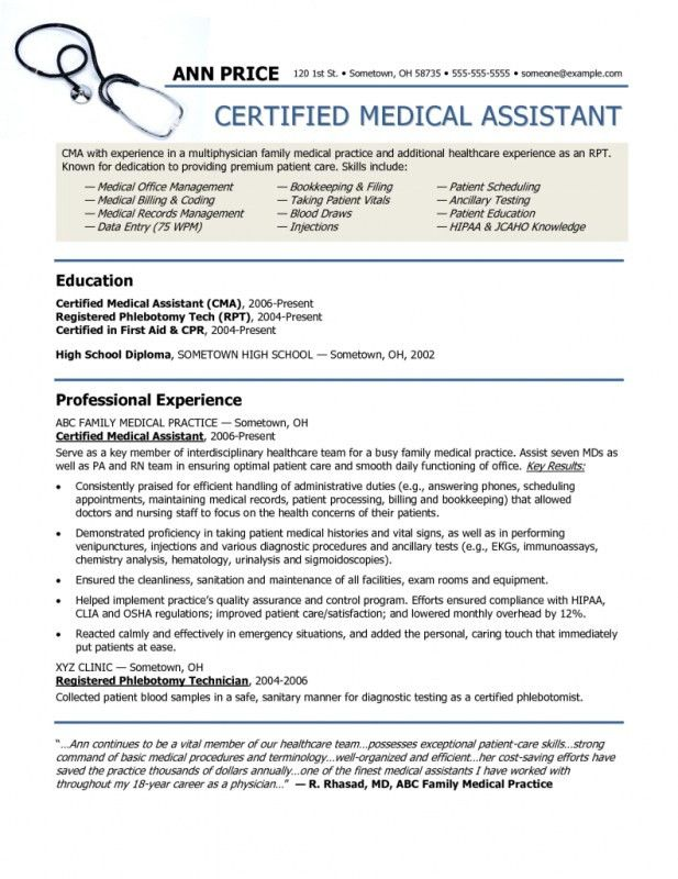 Examples Of Resumes For Medical Assistants. Medical Assistant ...