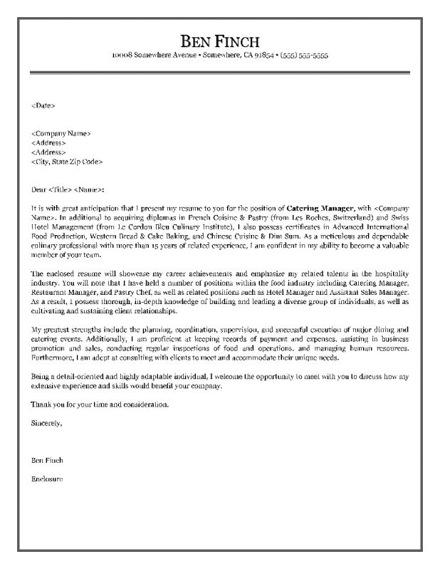 cover letter for food industry