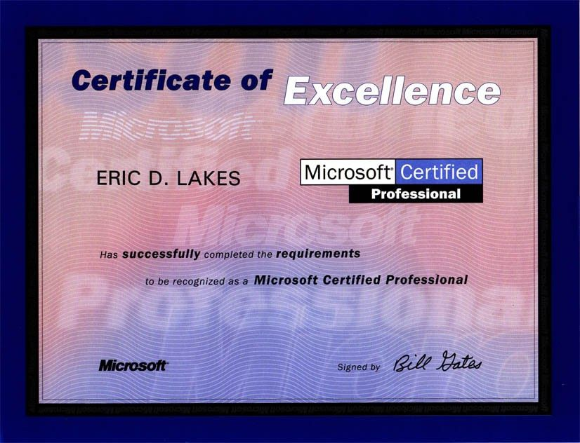 FAKE ID Novelty Certificate: MICROSOFT PROFESSIONAL CERTIFICATE ...