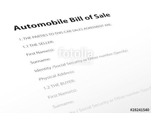 "Automobile Bill of Sale"" (contract buyer seller agreement car ..."