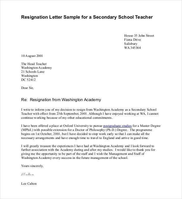 Teacher Resignation Letter Template - 14+ Free Sample, Example ...