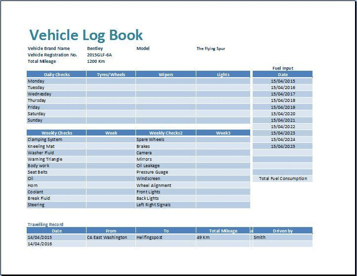 MS Excel Vehicle Log Book Template | Word & Excel Templates