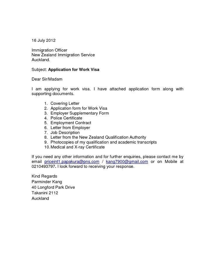 Cover Letter For Visa Application | The Letter Sample