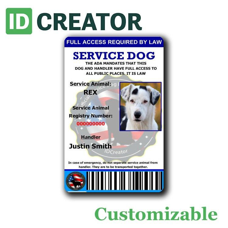 Official ID Card for Service Dogs | Same Day Shipping!