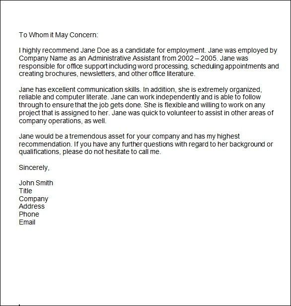 Personal Reference Letter Sample | Template Design