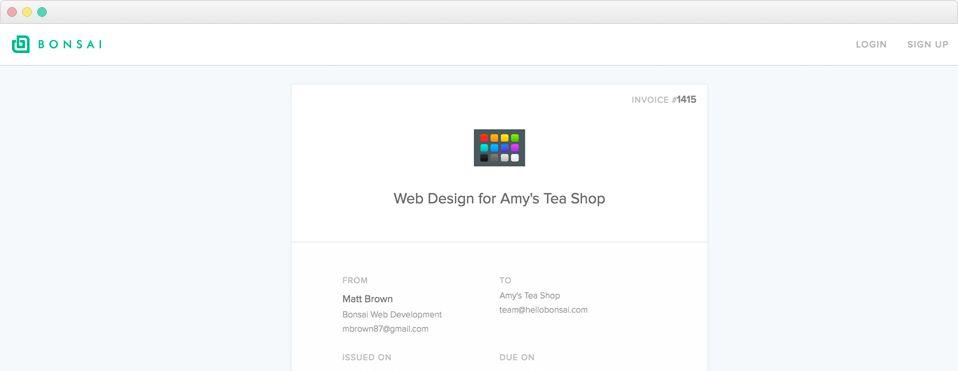 Website Design Invoice Sample - Bonsai