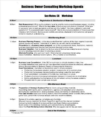 Workshop Agenda Template - 10+ Free Word, Excel, PDF Documents ...