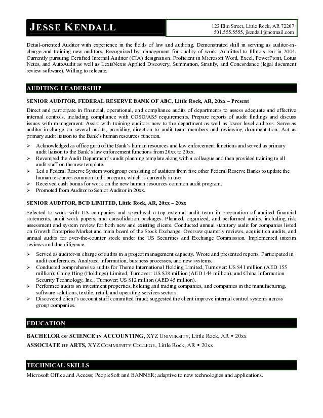 Free Senior Auditor Resume Example