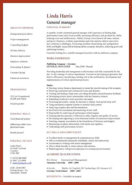 General Resume Template. General Manager Resume Template | Premium ...