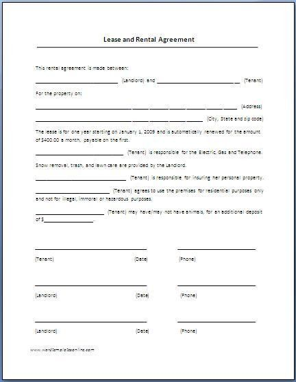 Printable Sample Rental Lease Form Form | Template for Real Estate ...