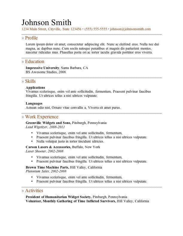 Microsoft Word Resume Templates - Resume Example