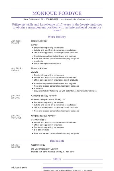 Beauty Advisor Resume samples - VisualCV resume samples database